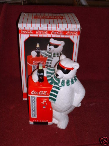 "COCACOLA Ceramic POLAR BEAR w""VENDING MACHINE"" COOKIE Jar"
