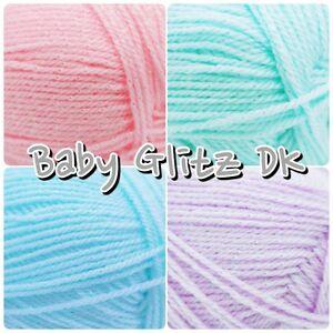 King-Cole-Baby-Glitz-DK-Iridescent-Sparkle-Acrylic-Knitting-Wool-Yarn-100g