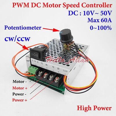 20A DC10V-60V 12V 24V 48V PWM DC Motor Speed Controller CW CCW Reversible Switch