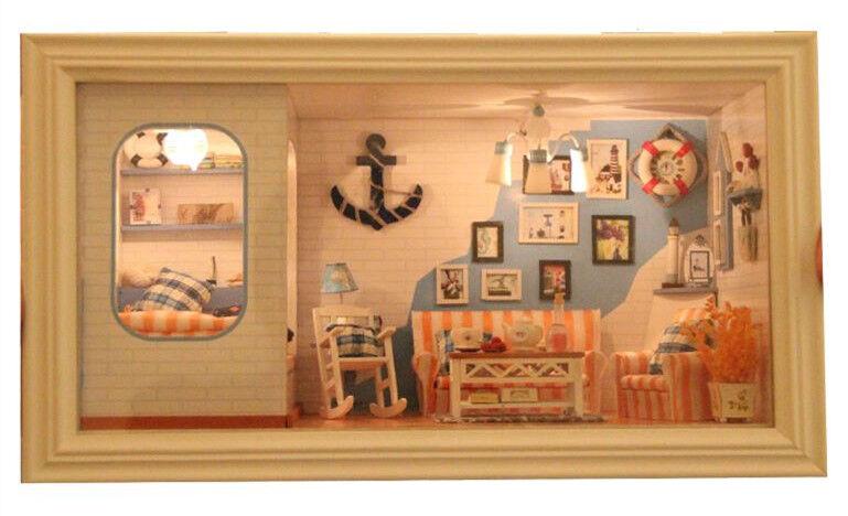 Progetto fai da te Handcraft in miniatura la mia lunga Spiaggia Vacanza Villa casa di bambole in legno