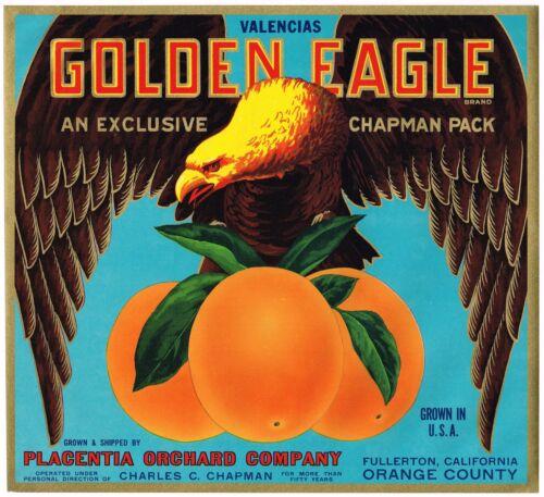 ORIGINAL ORANGE CRATE LABEL BALD GOLDEN EAGLE PLACENTIA FULLERTON 1940S VINTAGE