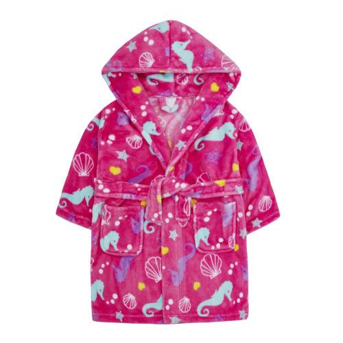 Free Gift Kids Childrens Girls Boys Dressing Gown Fleece Hooded Robe Bath Robe