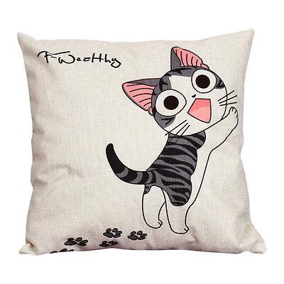 Cute Animal  Cat Cotton Linen Home Car Decor Throw Pillow Case Cushion Cover