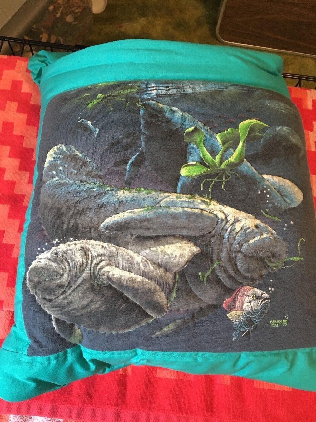New Handmade Manatees Quillow (Pillow w  6ft long quilt inside )