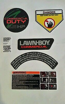 Reproduction lawn boy 6 pc decal set for the 22260 commercial model 6.5hp mower