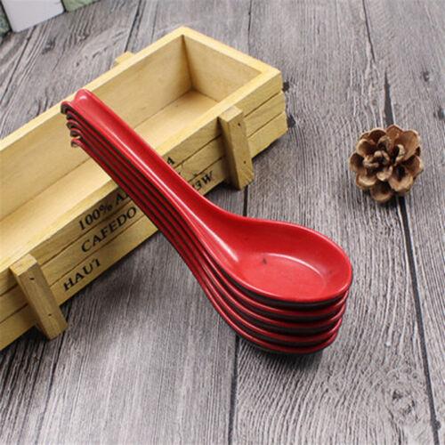 Black /& Red Porridge Bowl Chinese Japanese Soup Spoons Flatware 1PCS