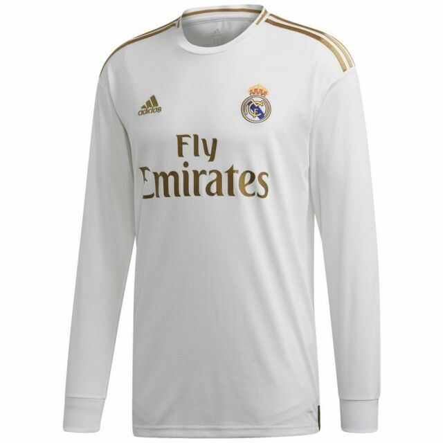 sale retailer 267a4 b9eee adidas Real Madrid 2019 - 2020 LS Long Sleeve Home Soccer Jersey White /  Gold