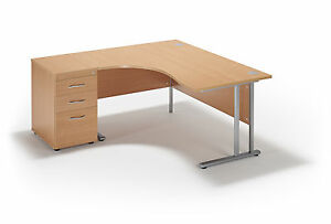 Image Is Loading Curved Beech Cantilever Office Desk And 600mm Deep