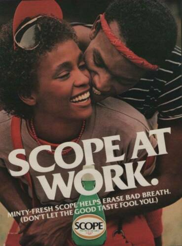 1983 Scope Mouthwash and Gargle Vintage PRINT AD Page Singer WHITNEY HOUSTON