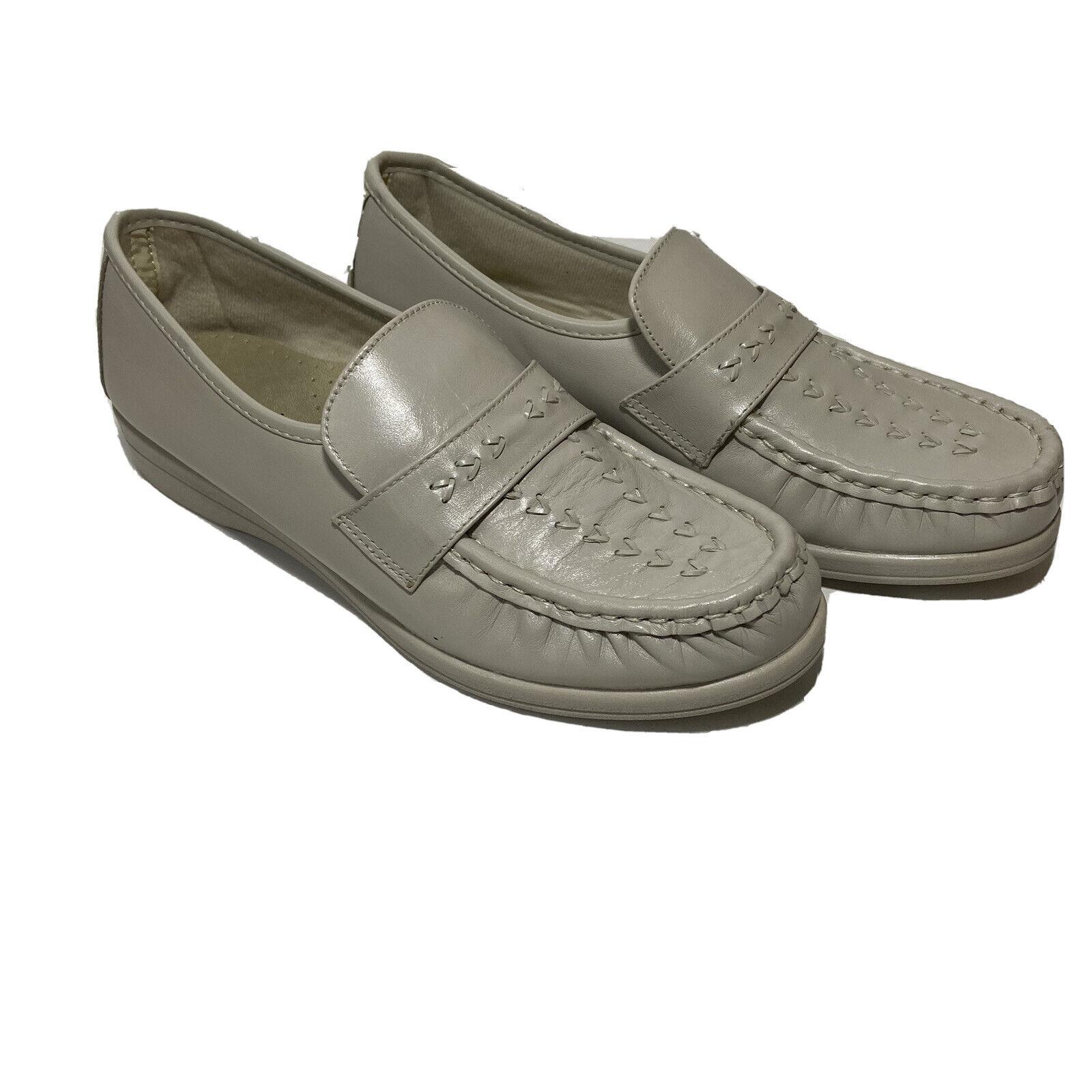Softspots Womens Venus Lite Comfort Shoes Bone Leather Moc Toe Slip On 10W New