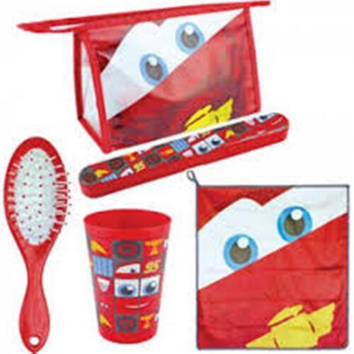 Disney Cars 5pc Toiletry Set   Hair Brush Cup Towel Toothbrush Holder Bag