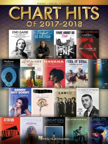 Chart Hits of 2017-2018 Sheet Music Piano Vocal Guitar SongBook NEW 000267202