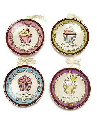 Cupcake Mini Plates Wall Decor Ceramic with Ribbon Hangers Set of 4