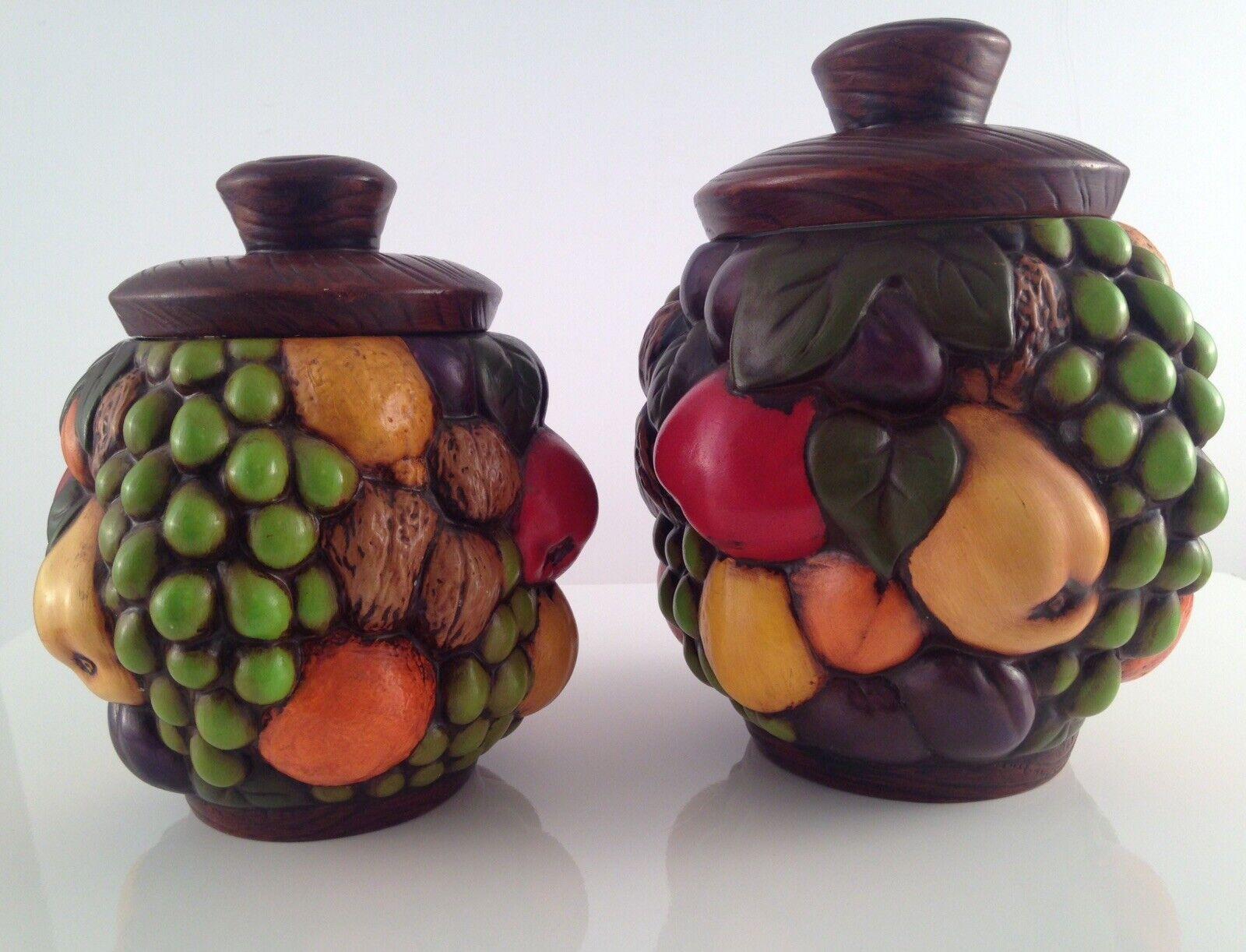 Vintage Bundle of Fruit & Nuts Cookie Jar Set Of 2 Beautiful Hand Painted