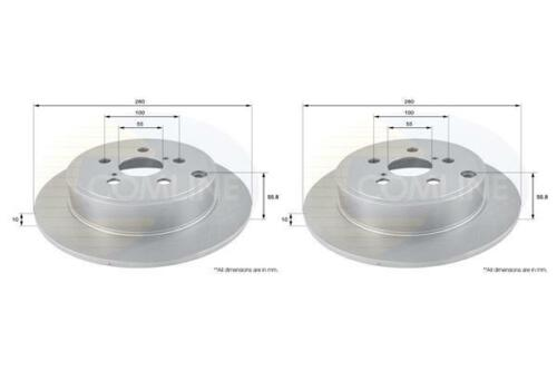 Rear Coated Brake Discs FOR TOYOTA AVENSIS II 1.6 1.8 2.0 03-/>08 Petrol Comline