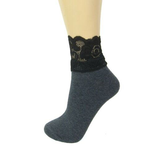 Cotton Blend Ankle Socks With Lace Cuff|Fashion Socks|4-7