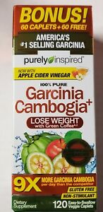 Purely Inspired Bonus 100% Pure Garcinia Cambogia+ 120 Veggie Caps - Exp 2/2022