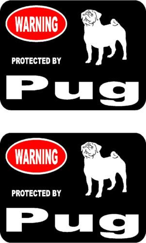 2 protected by Pug dog car bumper home window vinyl decals stickers