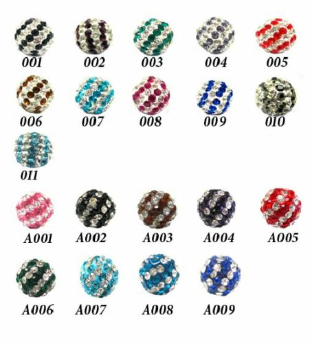 CHOICE OF 20 COLOURS UK NEW 50PCS £20.00 X10MM CRYSTAL CLAY STRIPED BEADS