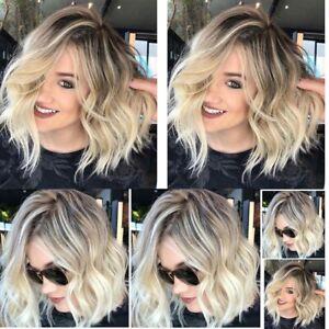 2-Styles-Women-Ladies-Wig-Bob-Full-Natural-Short-Curly-Brown-Blonde-Hair-Wigs-UK