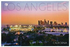 los angeles california dodgers baseball stadium downtown sunset