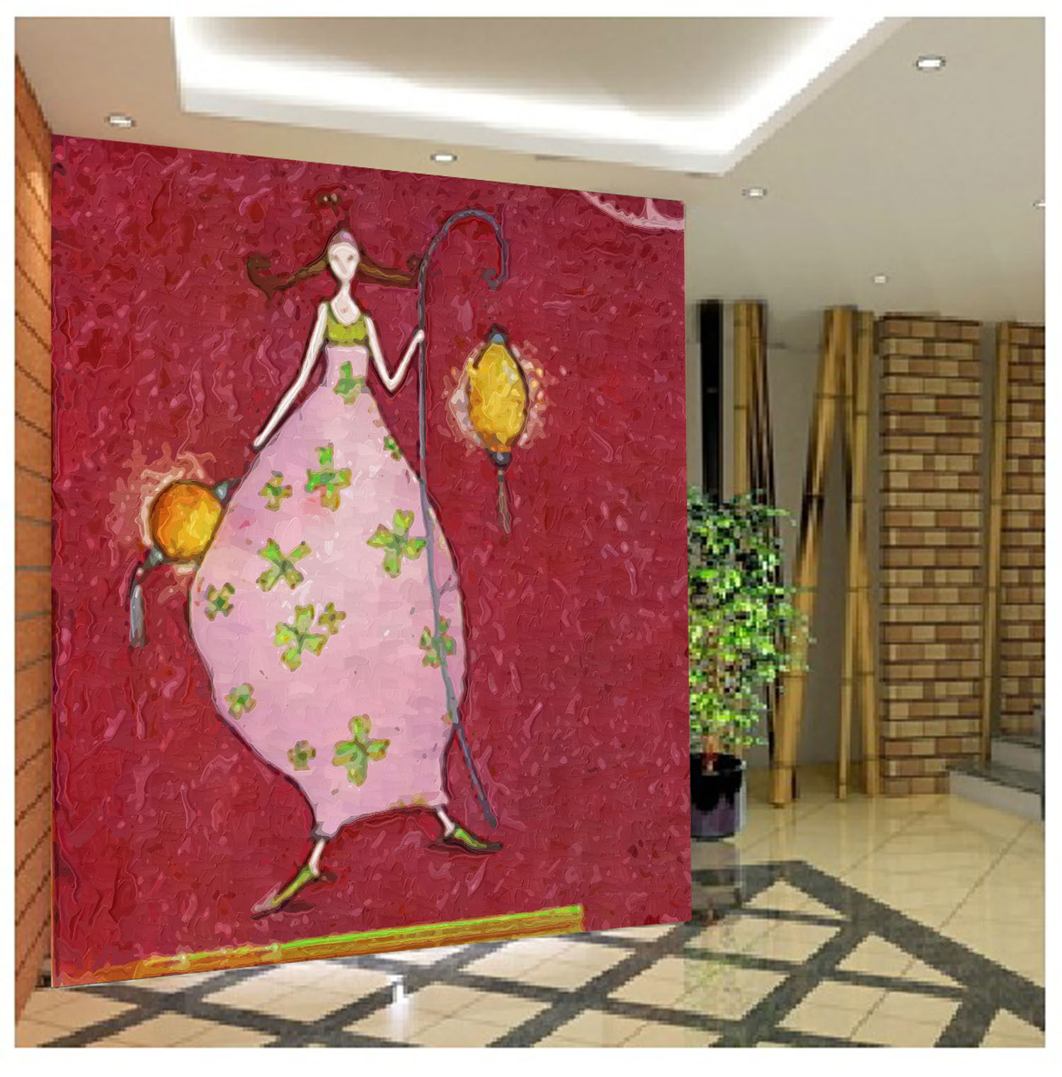 3D Lantern Cartoon Girl Wall Paper Wall Print Decal Wall AJ WALLPAPER CA