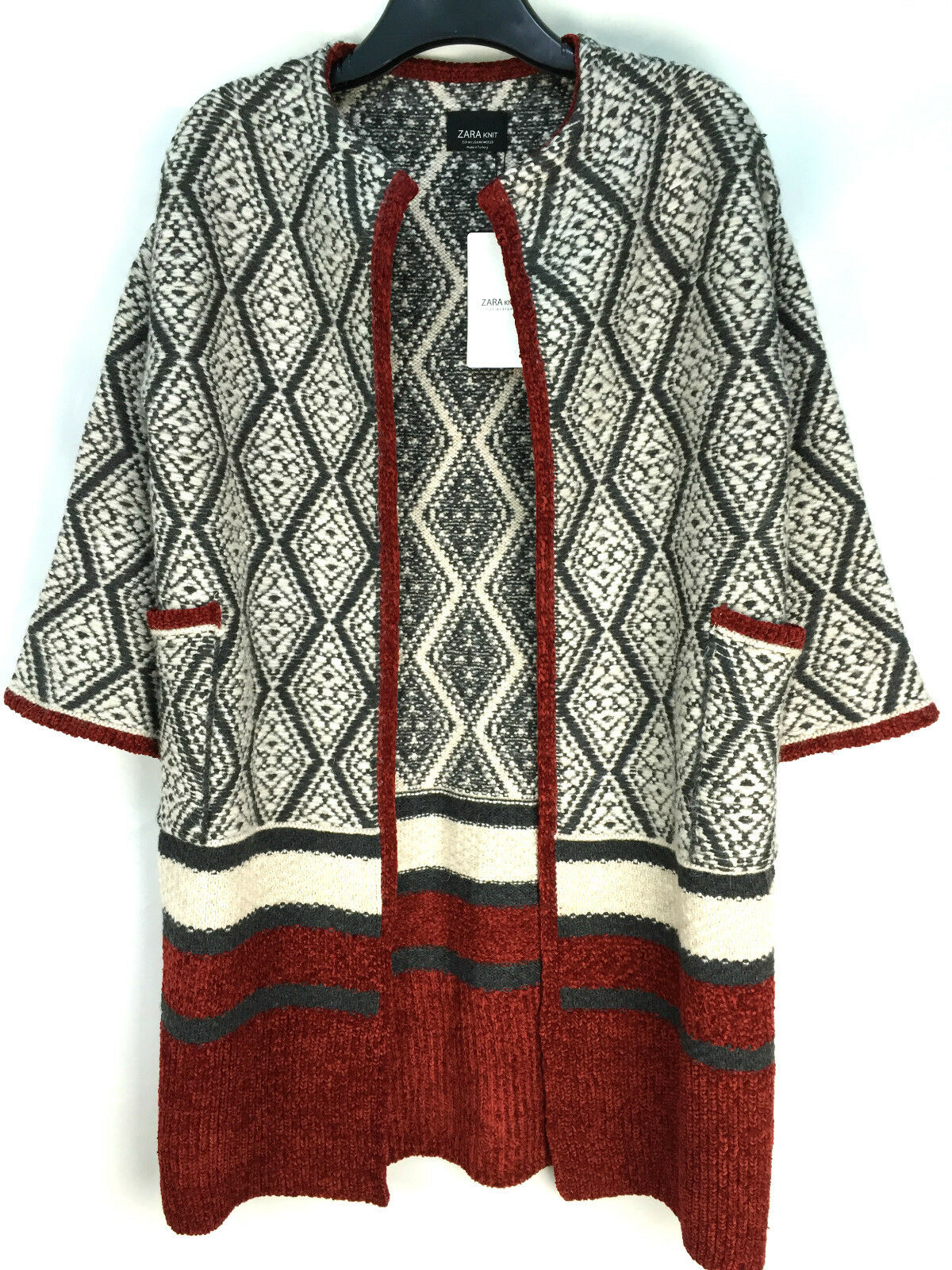ZARA KNITTED WOOL CARDIGAN COAT SIZE MEDIUM NEW REF 6771 103