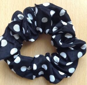 A Red With White Dots Silky Scrunchie Ponytail Band Bobble