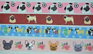 PUG-DOG-MOPS-DUTCH-FRENCH-BULLDOG-PUPPY-Ribbon-1-Metre-22mm-Wide-Grosgrain