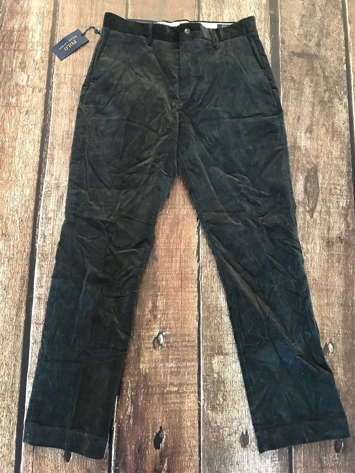 Polo Ralph Lauren Stretch Classic Fit Corduroy Pants Casper Green Mens 32x32 New