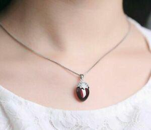 Damen-Kette-Anhaenger-925-Sterling-Silber-Granate-Stein-Silberkette-Halskette