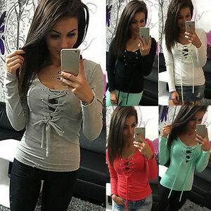 Fashion-Women-Ladies-Long-Sleeve-Casual-Lace-Up-Tops-Blouse-T-Shirt-Tee-Slim-New