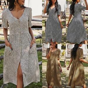✅Womens Leopard Print Short Sleeve Midi Dress Ladies V Neck Casual Shirt Dresses