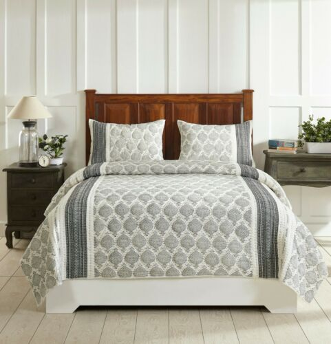 Better Trends Essential Collection 100% Cotton Jacquard Quilted Comforter Set