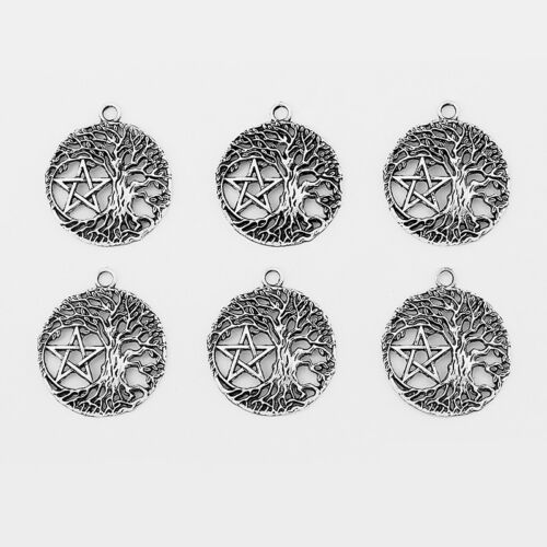 10Pcs Antique Silver Round Open Life Trees Pentagram Charms Jewelry Findings