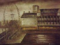 sepia London eye large oil painting canvas modern cityscape original British art