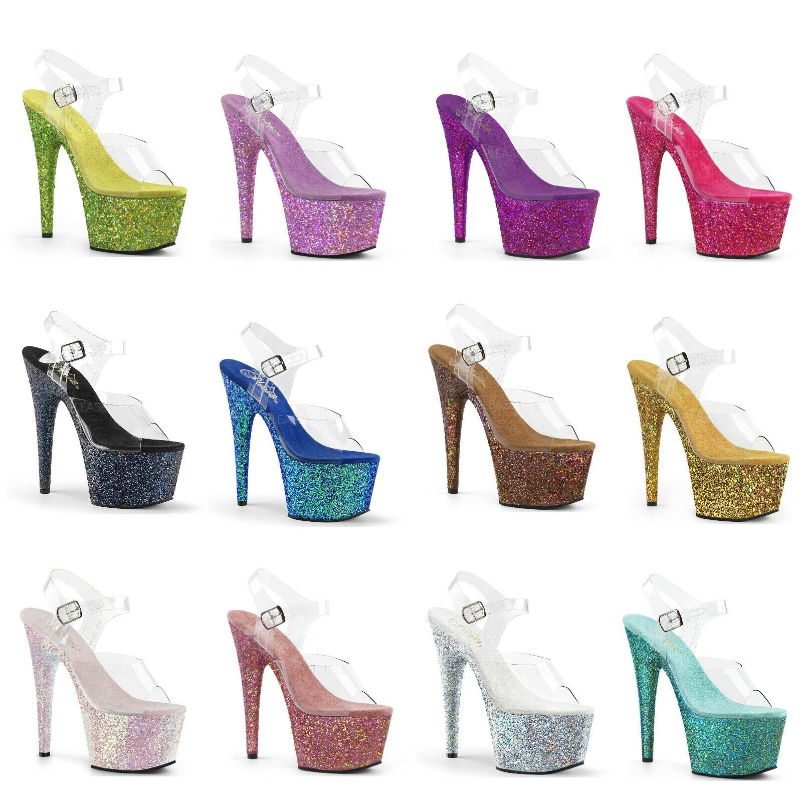 Pleaser ADORE-708LG Exotic Dancing PF Ankle Strap Sandal Holographic Glitters