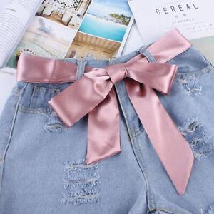 Girl-Wide-Waist-Fabric-Belt-Women-Ladies-Silk-Scarf-Solid-Ribbon-Knot-Rope-TRFF
