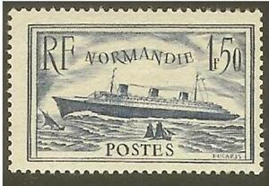 FRANCE-STAMP-TIMBRE-N-299-034-PAQUEBOT-NORMANDIE-1F50-BLEU-034-NEUF-xx-LUXE