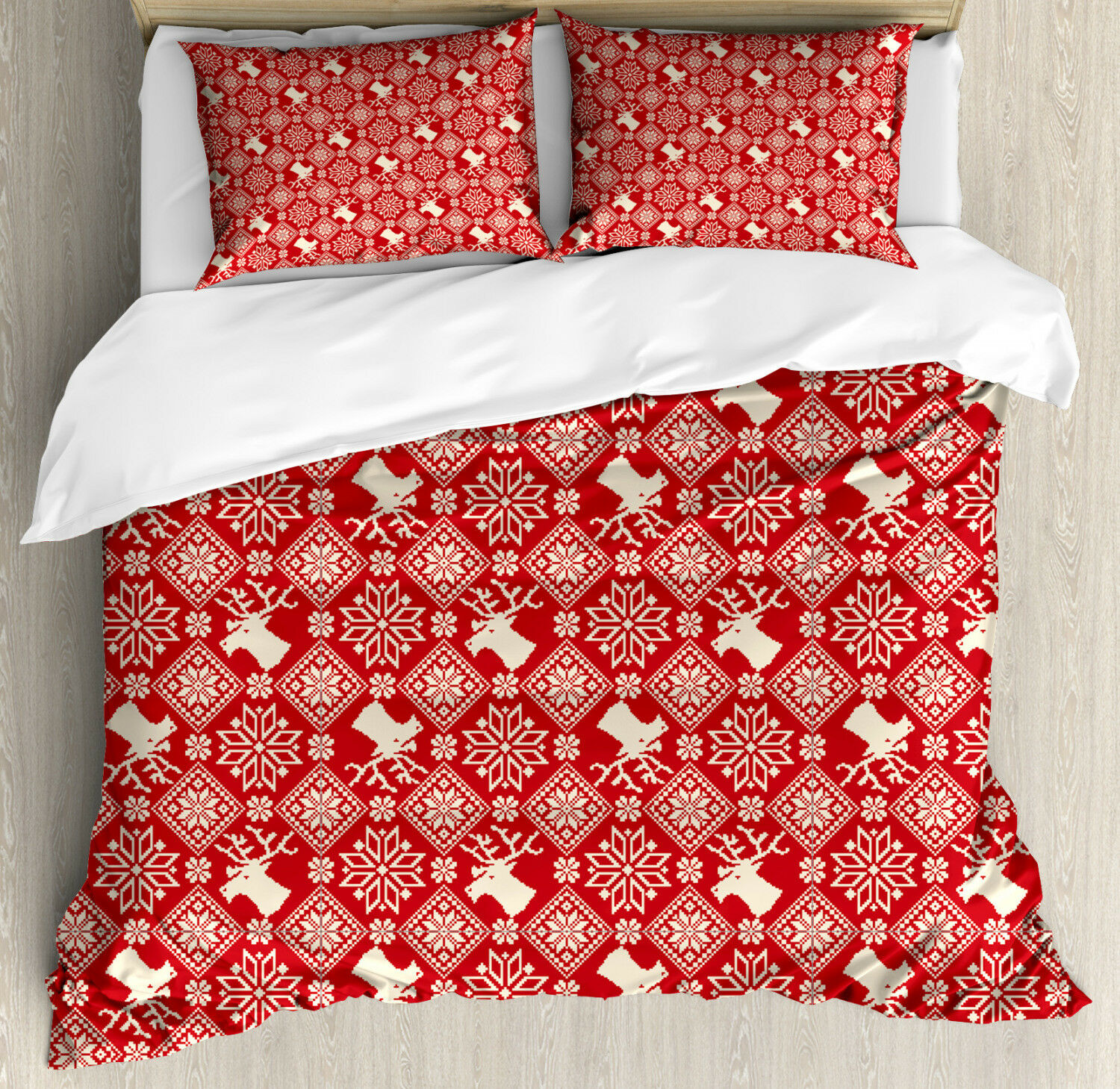 Nordic Duvet Cover Set with Pillow Shams Northern Reindeers Flora Print