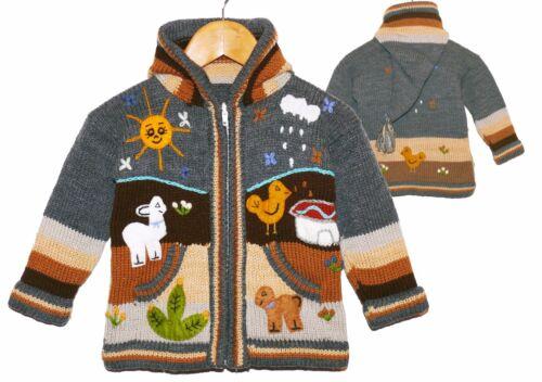 Strickjacke Gr.80*86 grau braun XXL-Zipfelkapuze Bauernhof Tiere Peru Lama Sonne