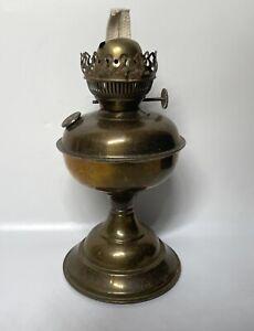 "Antique Old Brass Kerosene Oil Lamp , Collectible 10"" H"