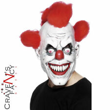 Scary Clown Mask Latex With Red Hair Halloween Freaky Fancy Dress New