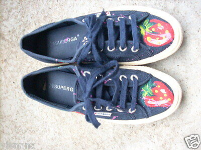 SUPERGA Sneakers Leinenschuhe 37 dunkelblau/navy Erdbeeren - so cool