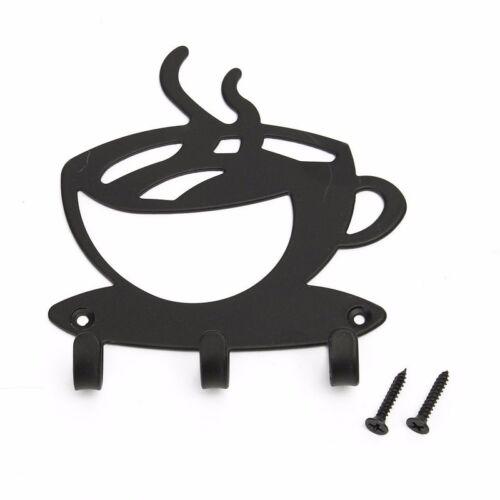 Coffee Cup Wall Mounted Hanger Rack Hot Coffee Shape Organizer Black Hook