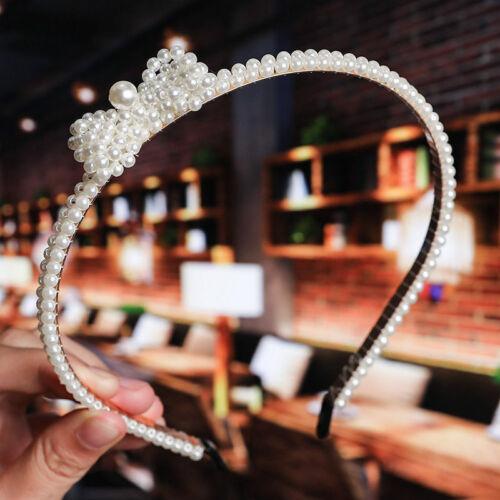 Girls Elegant Crystal Hairband Women Hair Hoop Accessories Big Pearl Headband