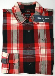NWT-149-True-Religion-Red-Plaid-Long-Sleeve-Flannel-Shirt-Mens-Loose-Fit