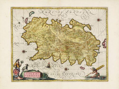 Old Vintage Sardinia Italy decorative map Blaeu ca 1655