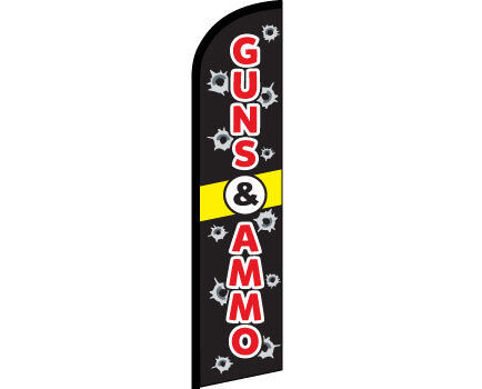 GUNS AND AMMO Windless Full Curve Top Advertising Banner Feather Swooper Flutter