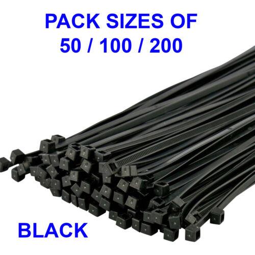 Negro Plástico de nylon Bridas súper fuerte 250 Mm x 4 mm Lazos Zip Tie Wraps